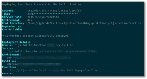 "Screenshot of the output of ""twilio serverless:deploy"""