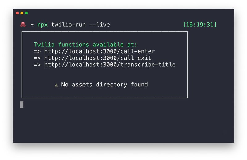 Terminal showing the local functions endpoints