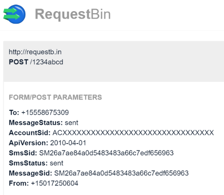 SMS StatusCallback Result in RequestBin