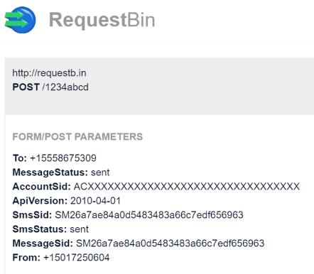 SMS StatusCallback Result in RequestBin