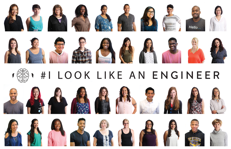 #ILookLikeAnEngineer poster showing underrepresented engineers