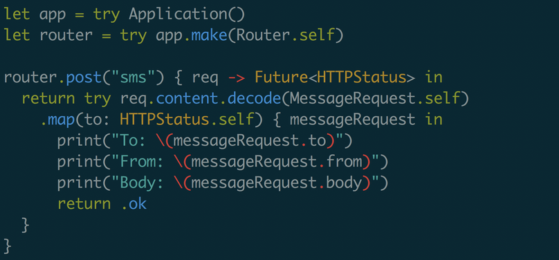 How to receive a POST request with server side Swift using