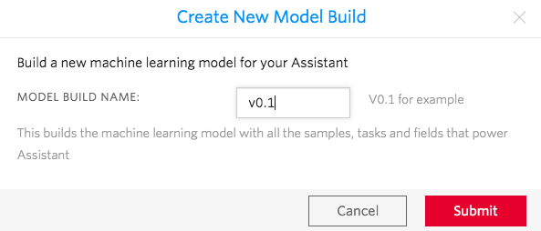 Create a new model build for your assistant