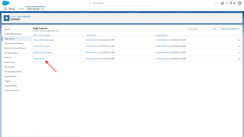 Contact Layout Page Layout for Contacts in Salesforce