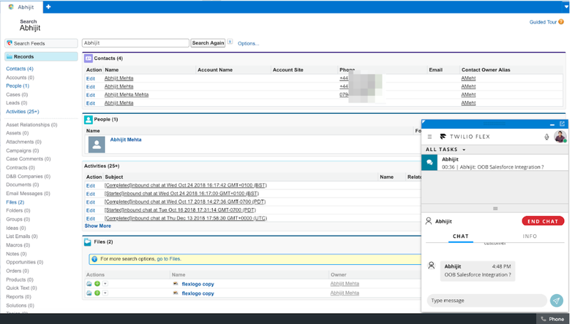 Salesforce-Flex integration: Search results for existing contacts (Salesforce Classic).