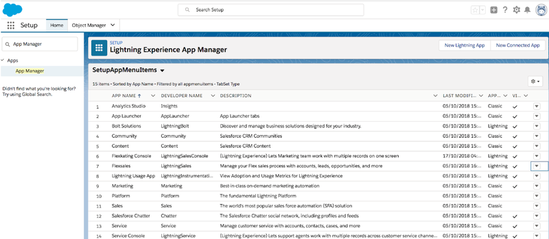 Salesforce classic: navigate to the app manager.