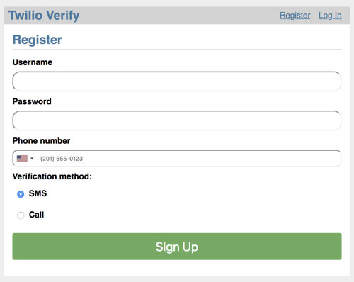 sign up form with phone verification