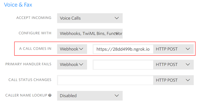 Twilio Console Webhook Setting