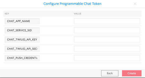 Chat Access Token Function Credentials