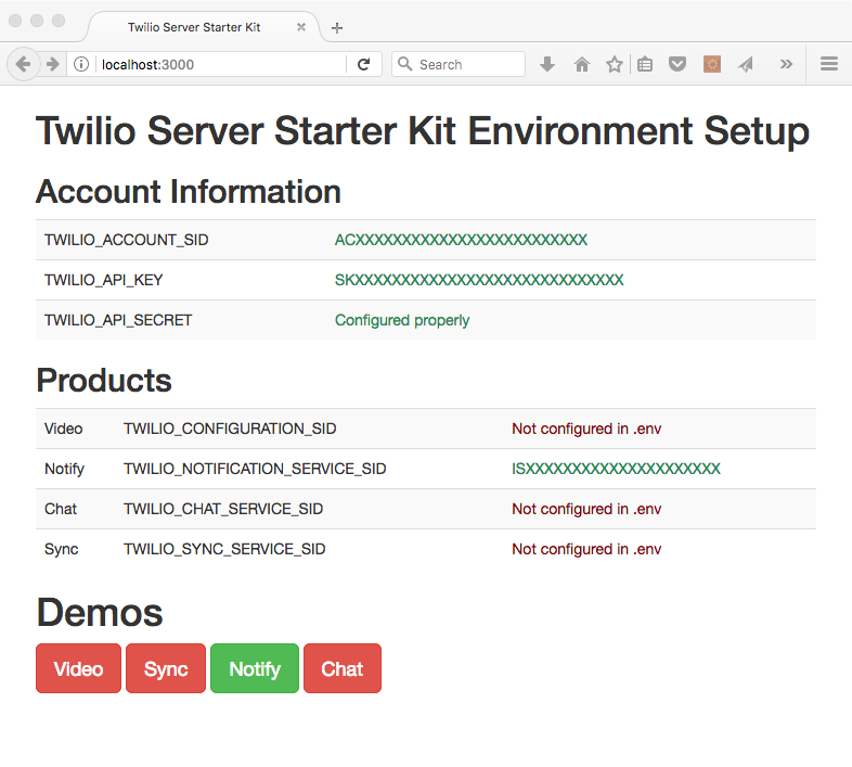 Twilio SDK Starter Home Screen