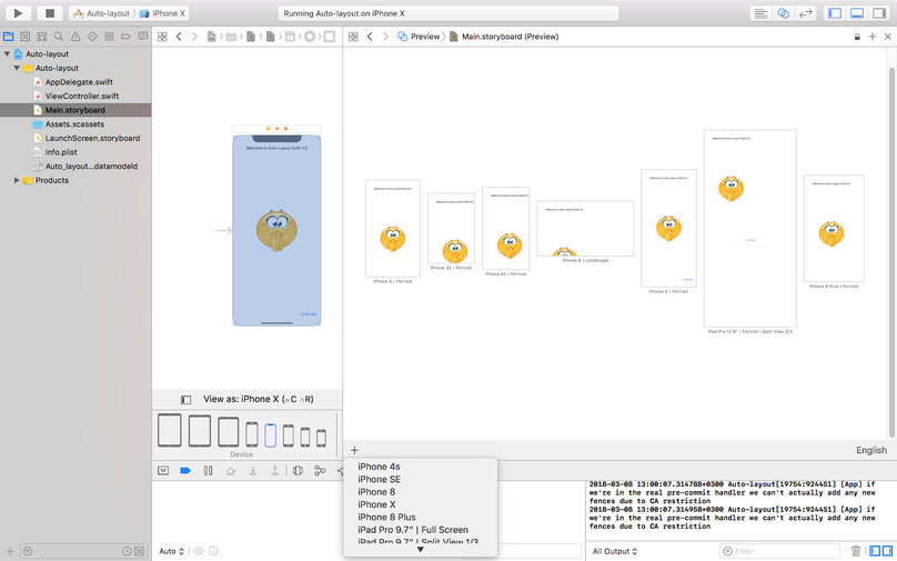 Auto Layout in Xcode