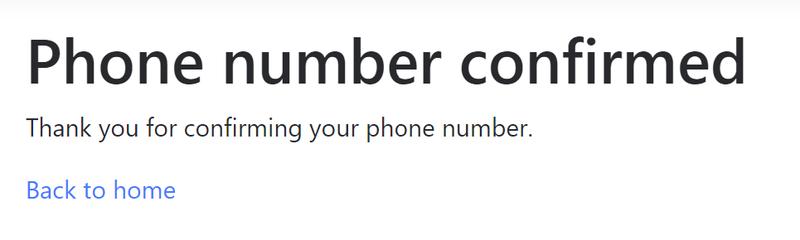 Phone number confirmed screen