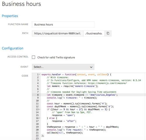 Using Twilio Functions to Add Custom JavaScript Code in