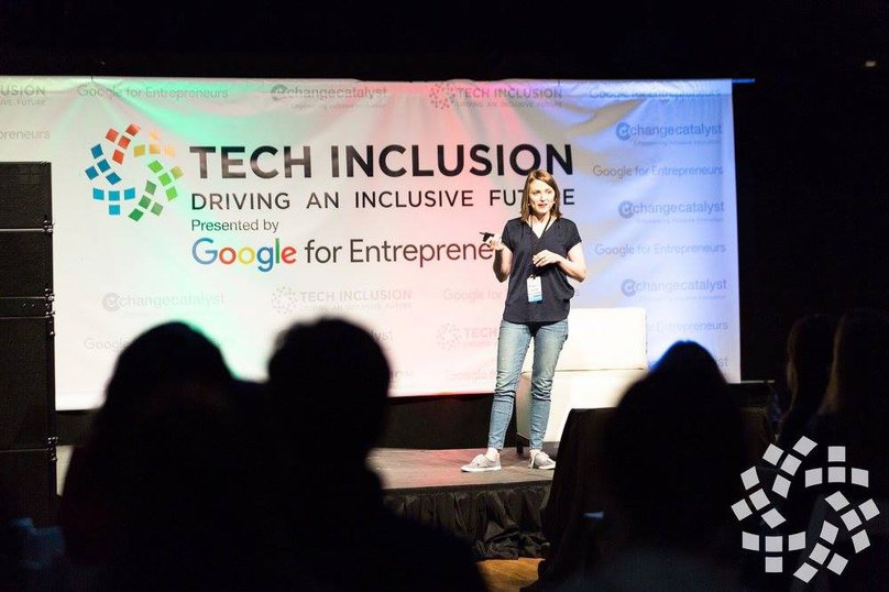 Michelle Glauser speaking at Tech Inclusion