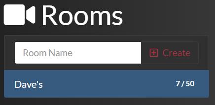 Angular Twilio Video showing a created room