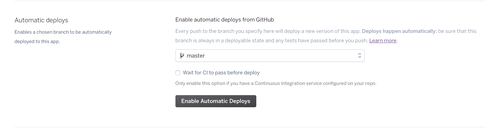 Enable automatic deploys button in Heroku