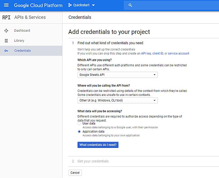 Google Cloud platform credentials