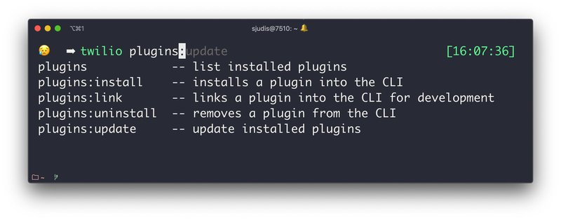 Completion of `twilio plugins + <TAB>` showing install, uninstall and update functionality