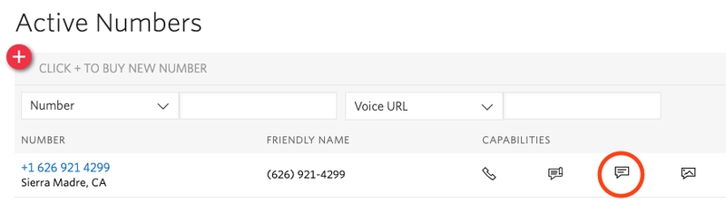 Active numbers list in the Twilio console