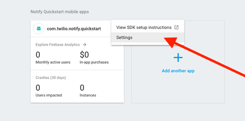 Firebase Notify Quickstart Settings