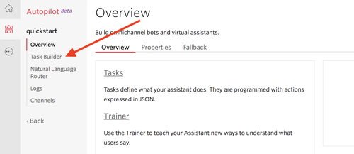 Create a task in the Autopilot console with Task Builder