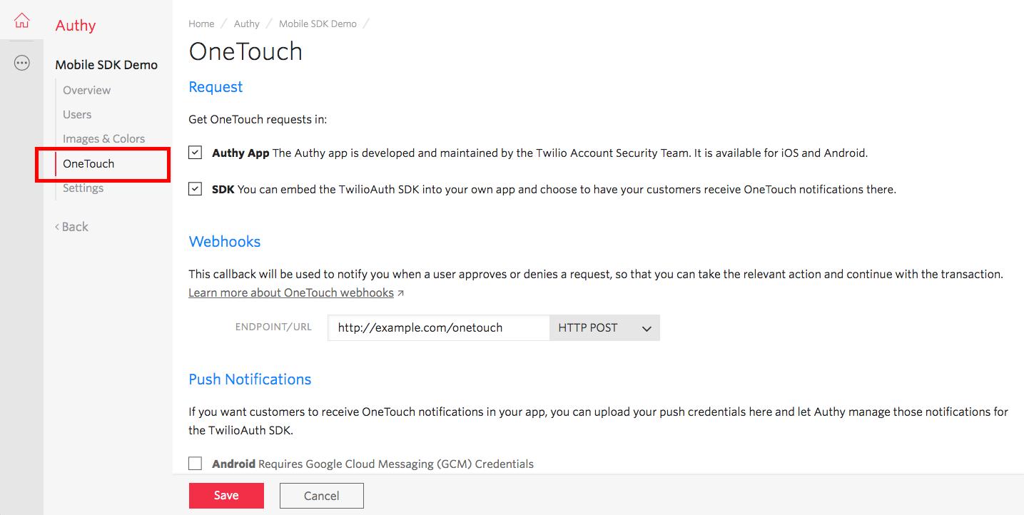 Setting up OneTouch notifications - Twilio