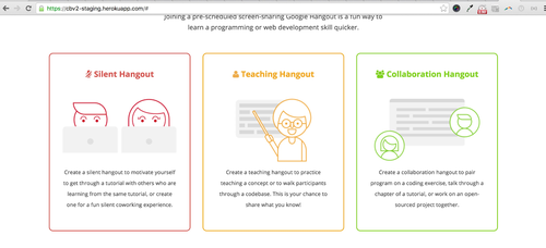 Description cards adachiu designed to explain silent, teaching and collaboration hangouts.