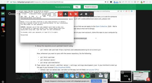 Screenshot of a google hangout, walking a contributor through a first pull request for CodeBuddies.