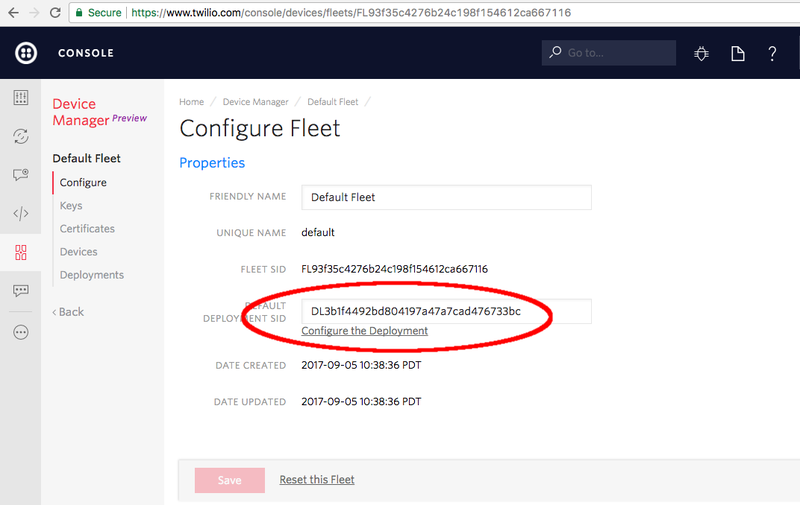 A default deployment is automatically provisioned for each new Device Fleet.