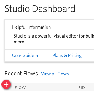 Create new flow in the Studio dashboard