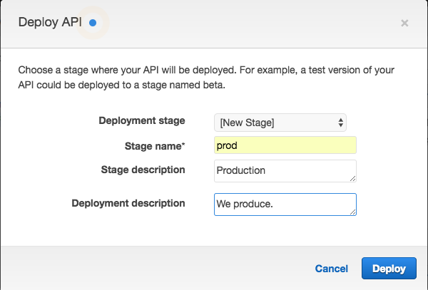 API Gatewayで新規ステージを作成する