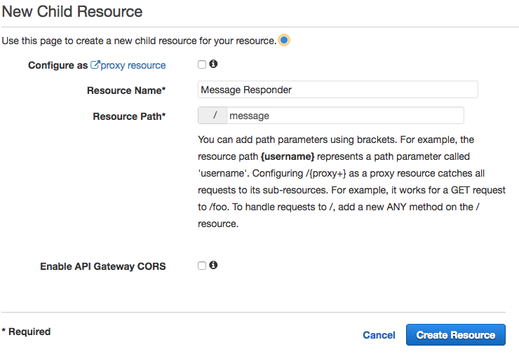 Create Resource in API Gateway