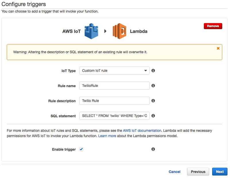 Integrating Amazon Lambda and AWS IoT