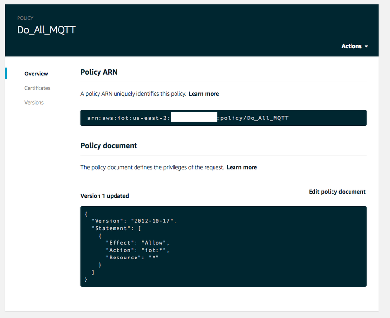 MQTT Security Policy, AWS IoT