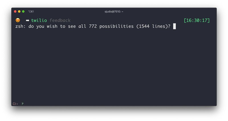 Result of command: `twilio + [TAB]` showing 772 auto-complete options