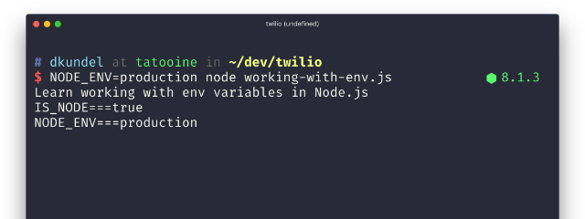 Working with Environment Variables in Node js - Twilio