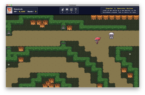 Screenshot of TwilioQuest mission with a maze the character walking through a maze
