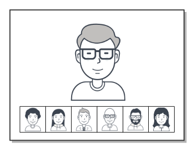 Applications using collaboration mode typically enhance the dominant speaker and represent the rest of participants in thumbnail size.