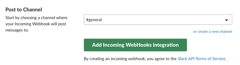 Slack incoming webhook integration