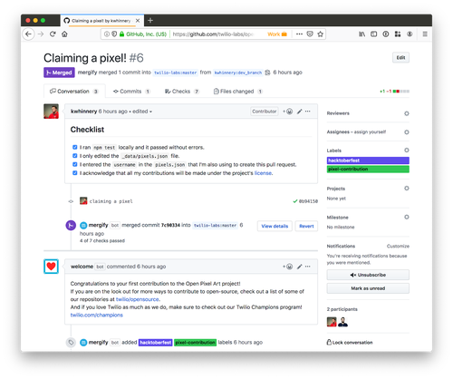 screenshot of a merged pull request on GitHub.com