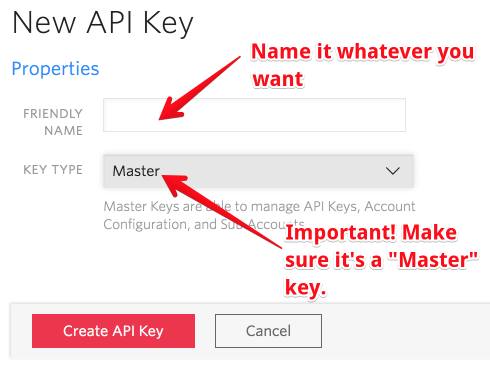 API keys, naming and type