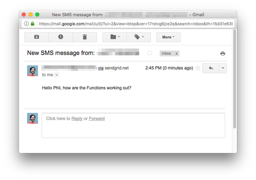 An image of the message I sent myself in my email client. It worked!