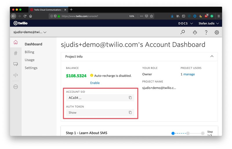 Twilio console including account sid and token