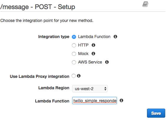 API GatewayでLambdaファンクションを設定する