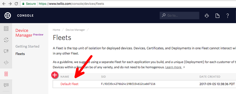 Twilio Consoleでdefault Fleetを見つける