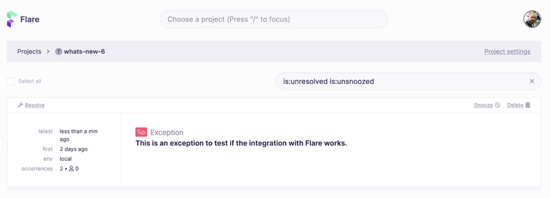 Screenshot of Flare with the test exception displayed