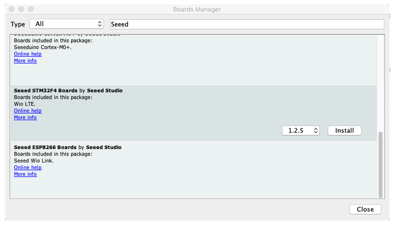 Add the Seeed Studio boards to Arduino IDE for the Twilio Wio LTE Machine-to-Machine quickstart