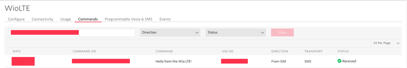 Verifying commands for the Twilio Seeed Studio Wio LTE Machine-to-Machine quickstart