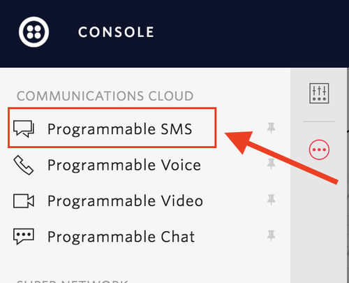 How to get to the Programmable SMS dashboard