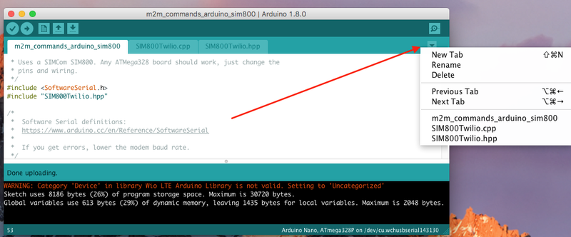 New File in the Arduino IDE
